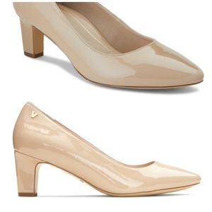 New Vionic Mia nude patent leather heel shoes